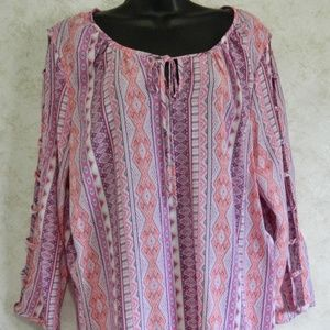 Kim Rogers XL Pull Over Blouse Open Sleeves